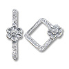 Square with Flower Toggle Clasp 15x14mm Sterling Silver (Set)
