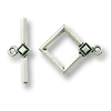 Toggle Clasp - Deco Diamond 22x18mm Pewter Silver Plated (Set)