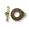 Toggle Clasp - Bali Style 20x17mm Pewter Gold Plated (Set)