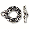 Toggle Clasp - Wreath 20x12mm Pewter Antique Silver Plated (Set)