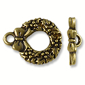 Toggle Clasp - Wreath 20x12mm Pewter Antique Brass Plated (Set)