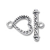 Toggle Clasp Small Heart 14x11mm Sterling Silver (Set)