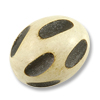 Bleached  Wood Grooved Oval Bead 25x20mm (1-Pc)