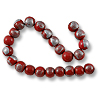 Wood Beads Round 7mm Red/Silver (16