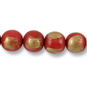 Wood Beads Round 16mm Red/Gold (16