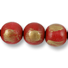 Wood Beads Round 20mm Red/Gold (16