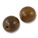 Shishem Wood Bead Brown 20mm Round (2-Pcs)