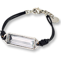 Clear Faceted Glass Stone with Black Leather Bracelet 6-7/8