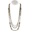 Smoky Topaz Faceted Glass Multi-Strand Necklace 19