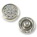 Swarovski Snap Fasteners 12mm Crystal/Silver Silver Brushed Finish (4 Part Set)