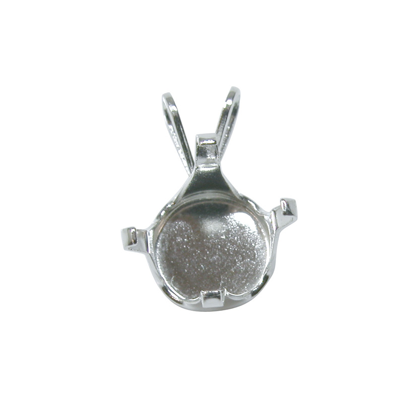 Snap Amp Set Round Pendant 6mm Sterling Silver