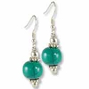 Tibetan Earrings 38x11mm Turquoise Resin/Brass (1-Pair)