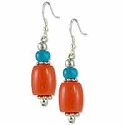 Tibetan Earrings 45x10mm Imitation Coral/Imitation Turquoise/Silver Plated Ear Wire (1-Pair)