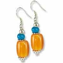 Tibetan Earrings 45x10mm Imitation Coral/Amber Resin/Silver Plated Ear Wire (1-Pair)
