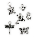 Antique Silver Plated Pewter Critter Charms (Set of 6)