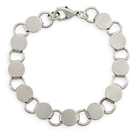 2-½ Inch Antique Silver Finish Steel Pad Bracelet  (1-Pc)