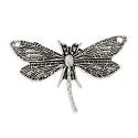 30x48 Antique Silver Plated Dragonfly Pewter Pendant (1-Pc)