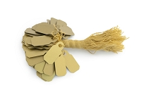 Gold Plastic String Tags (100-Pcs)