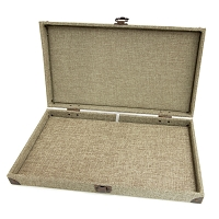 Burlap Jewelry Display Case with Pad Insert