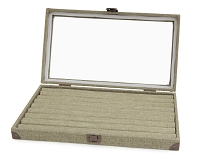 Burlap Glass Display Case with Ring Pad Insert
