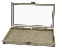 Burlap Glass Display Case with Pad Insert