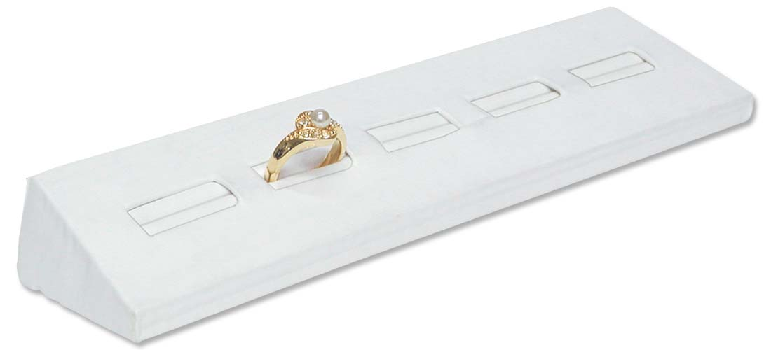white leatherette ring jewelry display stand for 5 rings
