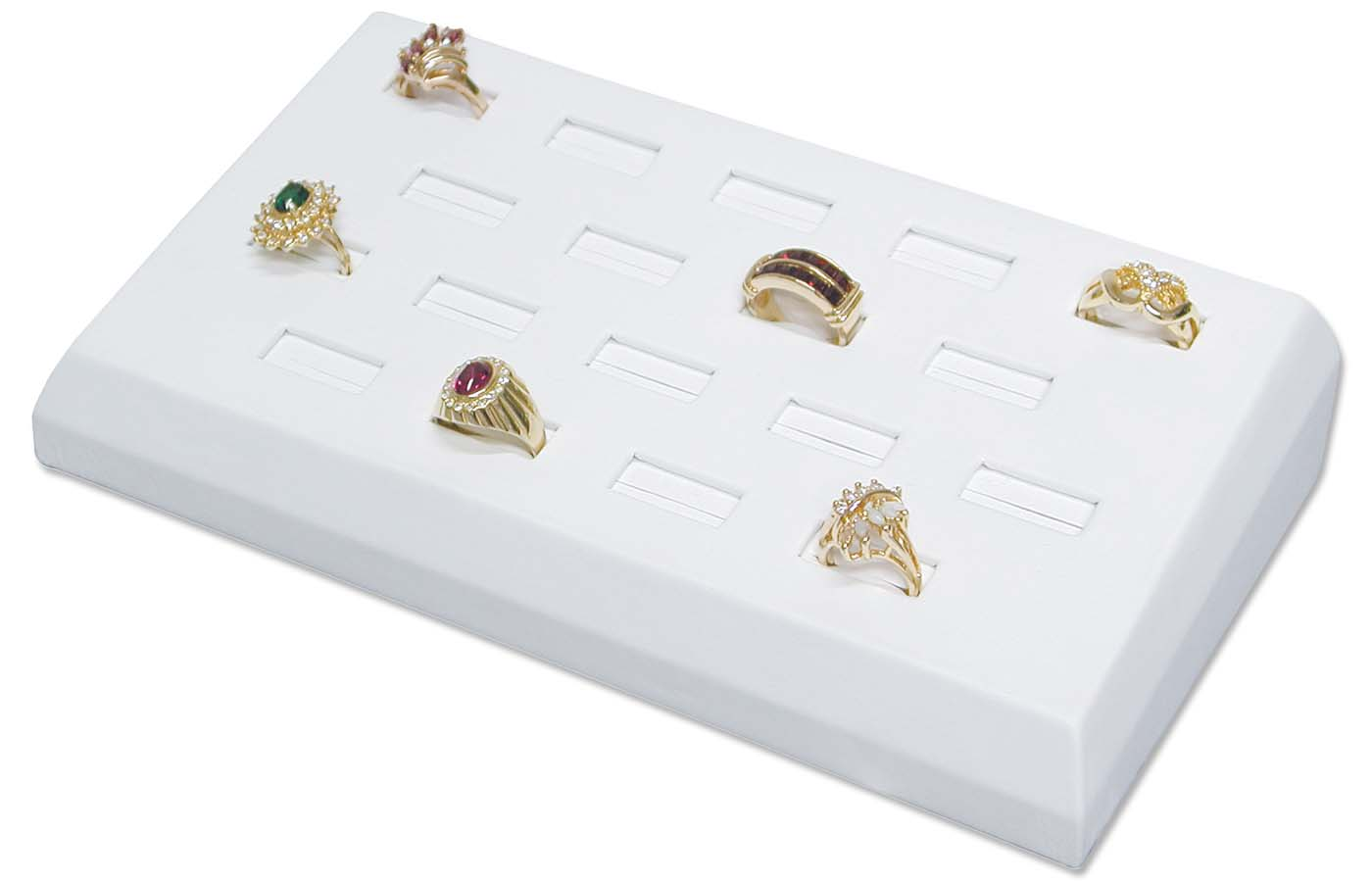 white ring tray jewelry display holds 18 rings