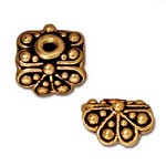 Bead Cap - Raja 9x9mm Pewter Antique Gold Plated (1-Pc)
