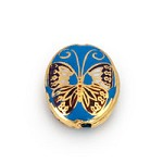 11x15mm Gold & Blue Butterfly Cloisonne Bead (1-Pc)