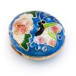 19mm Blue & Pink Butterfly Round Cloisonne Bead (1-Pc)