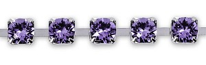 Swarovski Cup Chain 4mm Tanzanite Rhodium Plated (Priced per Inch)