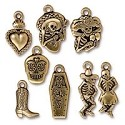 Day of the Dead Pewter Charm Kit Antique Gold Plated (8-Pcs)