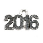 2016 Charm 15mm Pewter Antique Silver Plated (1-Pc)