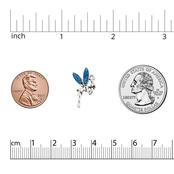 Blue Fairy Charm 12x19mm Pewter Antique Silver Plated (1-Pc)