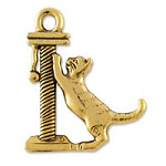 Cat & Post Charm Double Sided Pewter Antique Gold Plated (1-Pc)