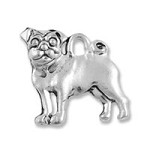 Pug Charm Double Sided Pewter Antique Silver Plated (1-Pc)