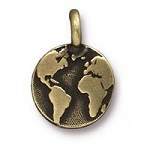 Earth Charm with Loop 11.6mm Antique Brass Plated (1-Pc)