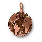 Earth Charm with Loop 11.6mm Antique Copper Plated (1-Pc)