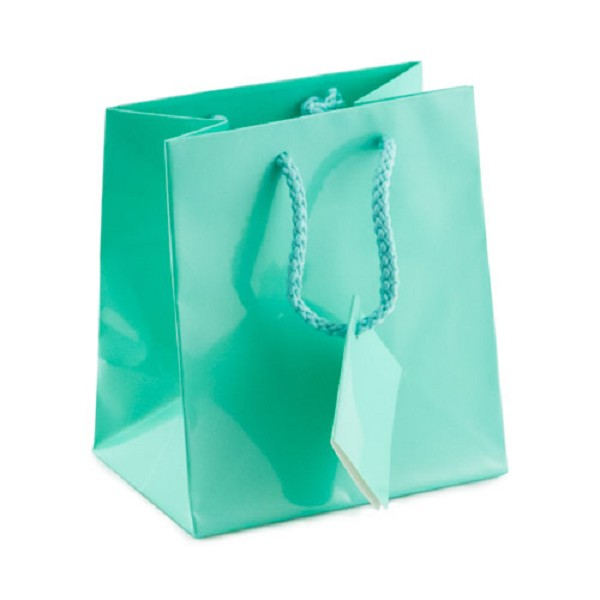 Shopping Tote Bag Small Glossy Teal Blue
