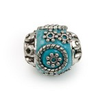 Mongolian Resin Bead 13mm Turquoise/Silver (1-Pc)