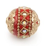 Mongolian Resin Bead 18mm Red/Gold (1-Pc)