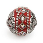 Mongolian Resin Bead 18mm Red/Silver (1-Pc)