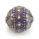 Mongolian Resin Bead 18mm Lavender/Silver (1-Pc)
