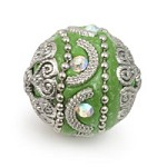 Mongolian Resin Bead 18mm Peridot/Silver (1-Pc)