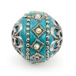 Mongolian Resin Bead 18mm Turquoise/Silver (1-Pc)