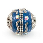 Mongolian Resin Bead 18mm Blue/Silver (1-Pc)