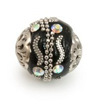 Mongolian Resin Bead 18mm Black/Silver (1-Pc)