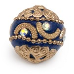 20mm Cobalt Blue & Gold Mongolian Resin Bead (1-Pc)