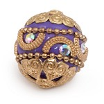 20mm Purple & Gold Mongolian Resin Bead (1-Pc)