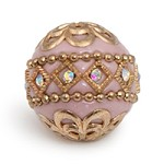 20mm Light Pink & Gold Mongolian Resin Bead (1-Pc)